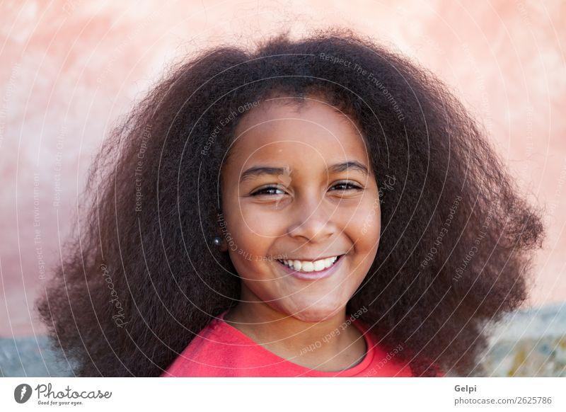 Hübsches Mädchen mit langem Afrohaar. Glück schön Gesicht Garten Kind Mensch Frau Erwachsene Kindheit Park brünett Afro-Look Lächeln Fröhlichkeit niedlich rot