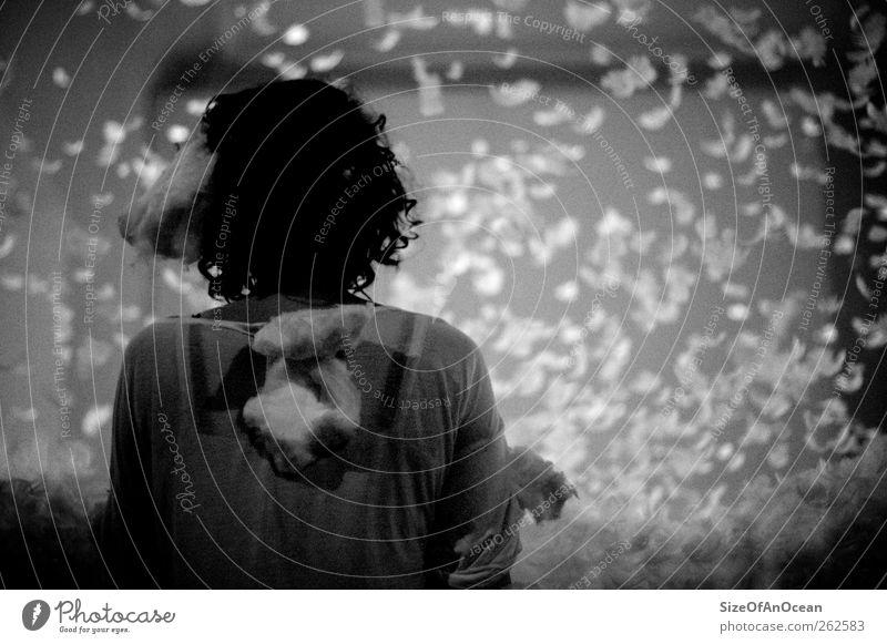 Feathers Mensch Jugendliche Erwachsene Leben feminin Schneefall Kunst 18-30 Jahre Engel Romantik Feder Junge Frau Vergänglichkeit Sehnsucht Frieden Tragfläche