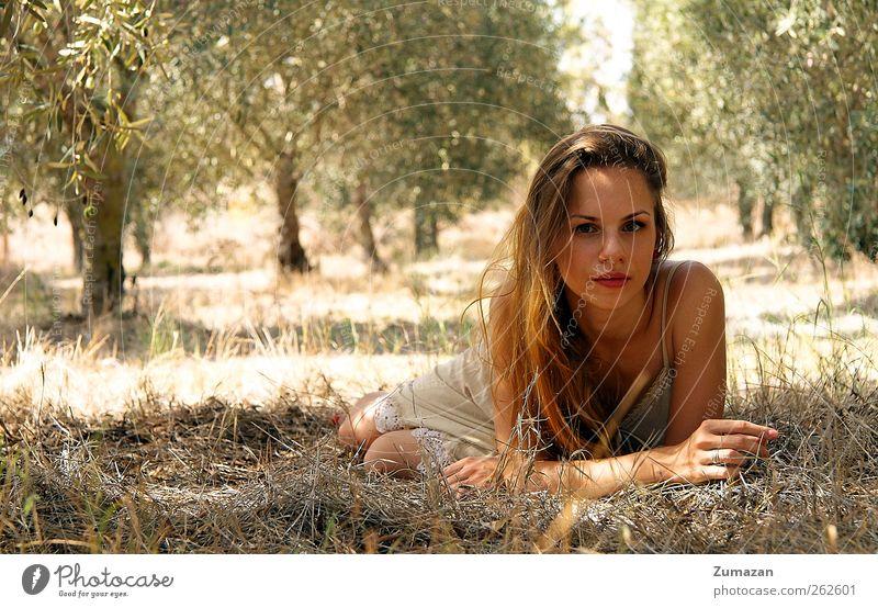 Mensch Frau Natur Jugendliche Hand schön Pflanze Sonne Sommer Gesicht Wald Erwachsene Auge Leben Kopf Haare & Frisuren