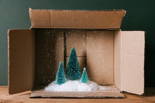 Weihnachten in einer Schachtel Winter Schnee Dekoration & Verzierung Feste & Feiern Weihnachten & Advent Post Schneefall Baum Rudel Paket Holz lustig braun grün