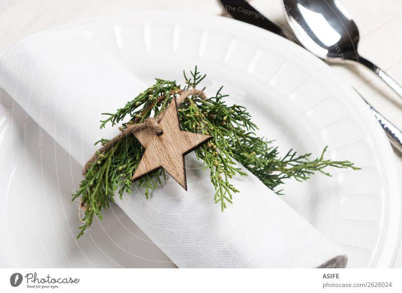 Naturserviettenhalter für den Weihnachtsplatz Essen Abendessen Besteck Gabel Löffel Stil Design Tisch Restaurant Feste & Feiern Weihnachten & Advent Seil Baum