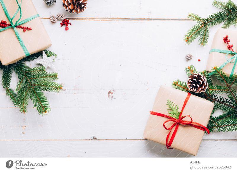 Weihnachtsrahmen Winter Dekoration & Verzierung Tisch Weihnachten & Advent Silvester u. Neujahr Handwerk Natur Baum Papier Holz Ornament Schnur trendy oben grün