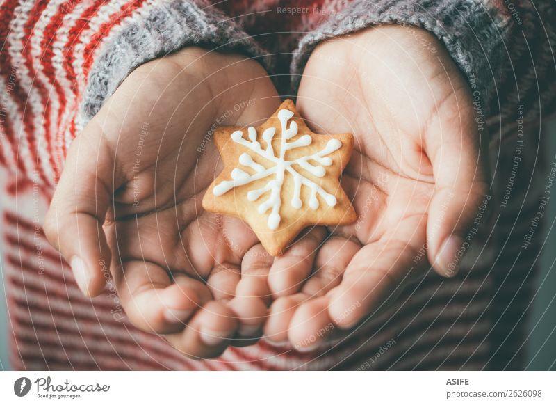 Weihnachtskeks in Kinderhänden Dessert Winter Dekoration & Verzierung Weihnachten & Advent Hand Baum Pullover lecker braun Tradition Plätzchen eine Menschen