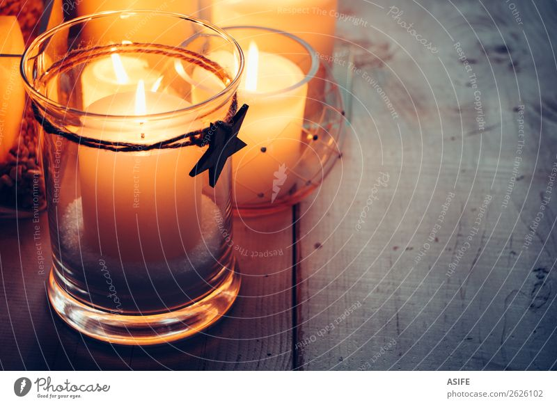 Weihnachtskerzen mit einem Holzstern Dekoration & Verzierung Tisch Feste & Feiern Weihnachten & Advent Wärme Kerze Ornament glänzend dunkel einfach hell blau