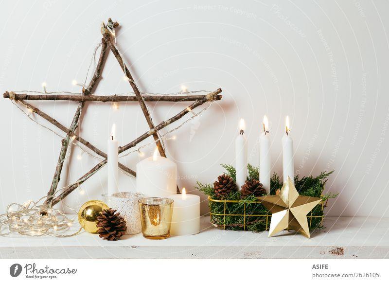 Weihnachtsdekoration Stil Design Winter Dekoration & Verzierung Möbel Weihnachten & Advent Handwerk Kerze hell natürlich gold weiß Innenbereich heimwärts diy
