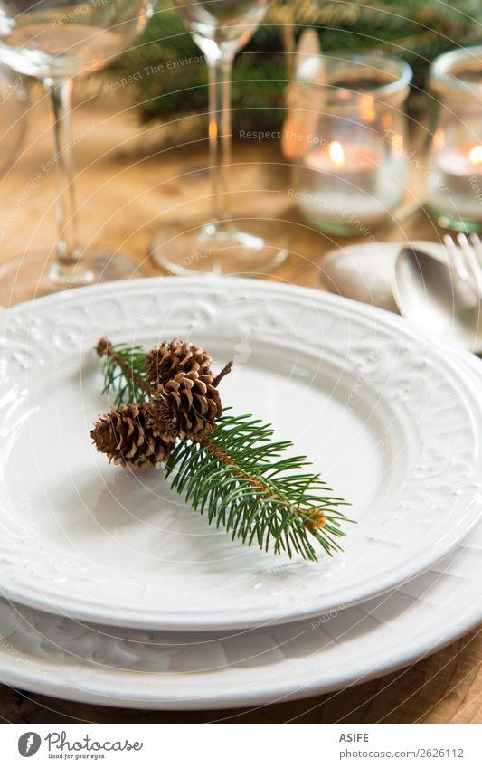 Natürliche Ornamente für das Weihnachtsessen Abendessen Teller Besteck elegant Stil Design Winter Dekoration & Verzierung Tisch Restaurant Feste & Feiern