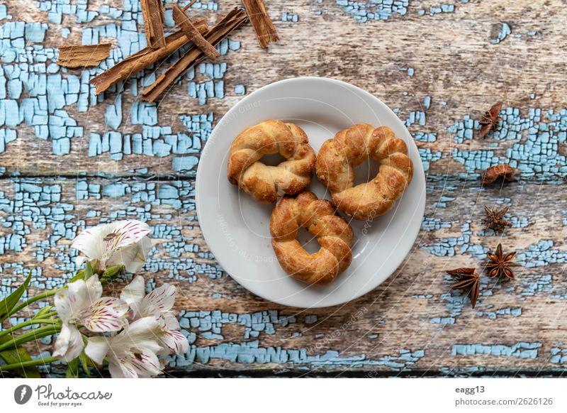 Köstliche Anisplätzchen zum Frühstück Brot Dessert Ernährung Diät Kaffee schön Leben Tisch frisch lecker braun weiß Hintergrund backen Bäckerei Biskuit Kuchen