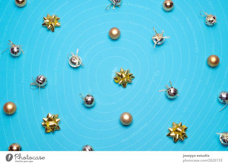 Kreatives und minimales Weihnachtsmuster. Design Winter Dekoration & Verzierung Feste & Feiern Weihnachten & Advent einfach oben blau Kreativität Hintergrund
