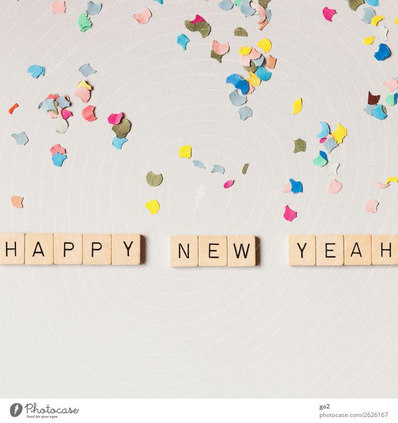 Happy New Yeah! Freude Spielen Entertainment Party Feste & Feiern Silvester u. Neujahr Geburtstag Dekoration & Verzierung Konfetti Holz Schriftzeichen