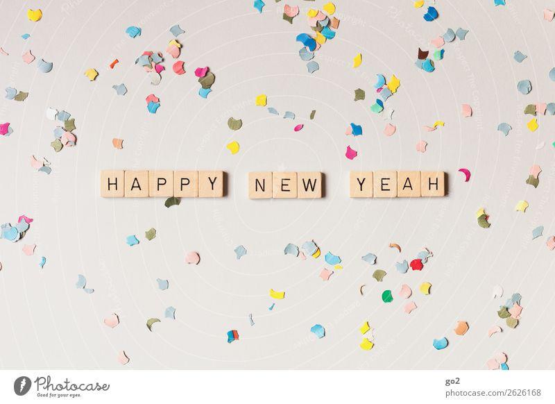 Happy New Yeah! Spielen Party Feste & Feiern Silvester u. Neujahr Geburtstag Dekoration & Verzierung Konfetti Schriftzeichen Fröhlichkeit mehrfarbig Gefühle