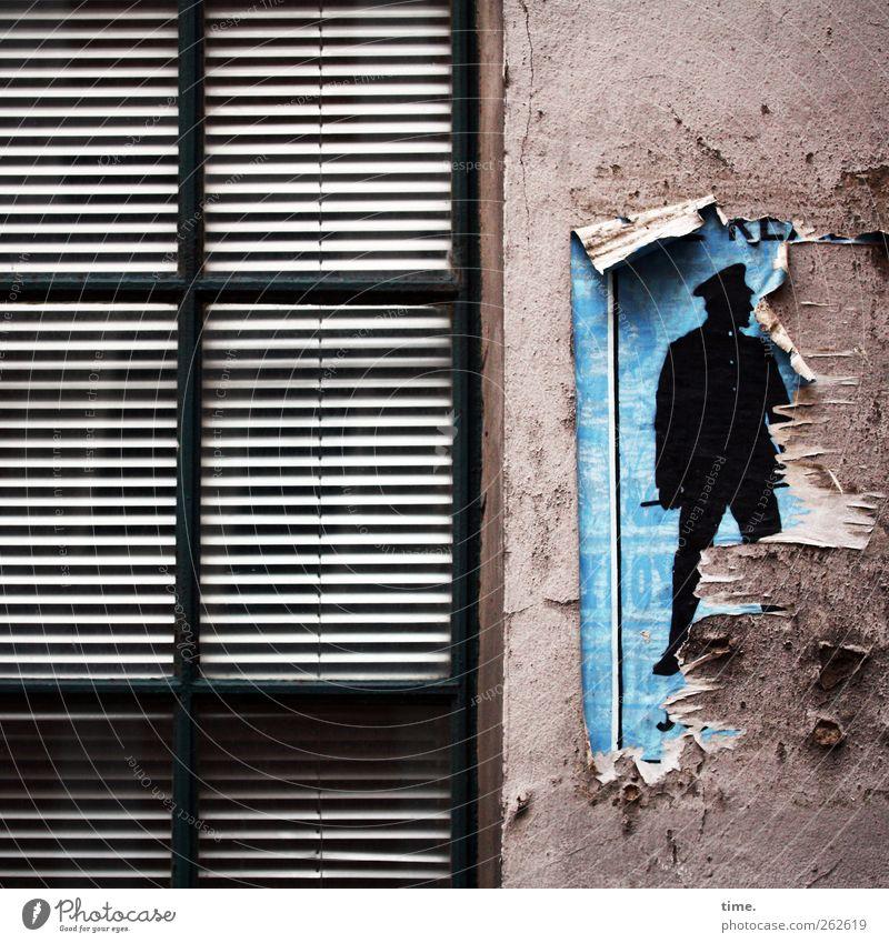 Die Sitte schaut mal nach dem Rechten Fenster Wand Graffiti Mauer Stein Metall Kunst Glas Fassade dreckig geschlossen kaputt beobachten Zeichen skurril