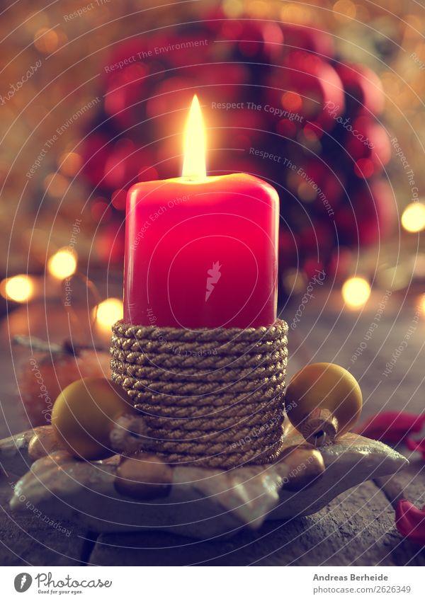 Kerze mit Weihnachtsdekoration Weihnachten & Advent Winter Hintergrundbild Dekoration & Verzierung Musik Symbole & Metaphern Tradition altehrwürdig