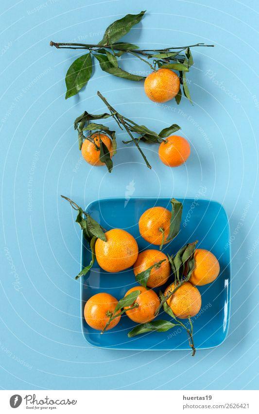 Frische Mandarinen in der Saison. Flache Verlegung. Lebensmittel Milcherzeugnisse Frucht Orange Vegetarische Ernährung Diät Saft Gesunde Ernährung Kunst frisch