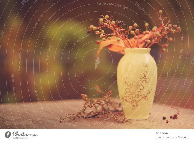 Herbstliches Stillleben mit Vase und Pflanzen auf einer Platte aus Holz Häusliches Leben Garten Dekoration & Verzierung Natur Sträucher Blatt Grünpflanze