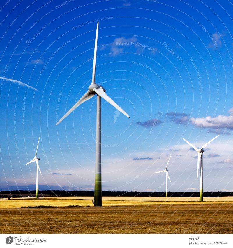 Windmühlen Natur Umwelt Landschaft Metall Linie Energiewirtschaft Klima authentisch Baustelle Schönes Wetter Windkraftanlage Maschine ökologisch Umweltschutz Windstille Industrieanlage