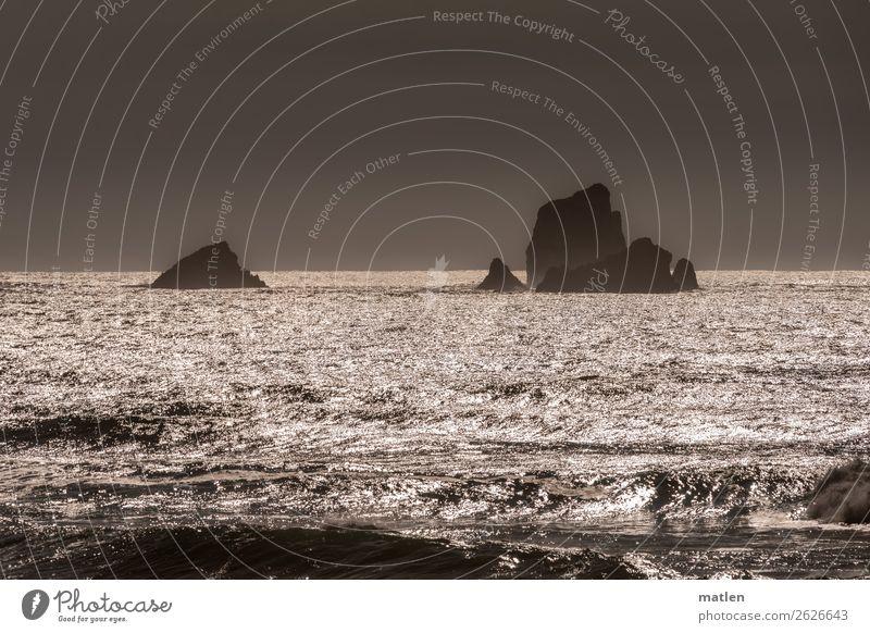 Silber Natur Landschaft Wasser Himmel Wolkenloser Himmel Horizont Sonnenaufgang Sonnenuntergang Sommer Schönes Wetter Felsen Meer glänzend maritim braun grau