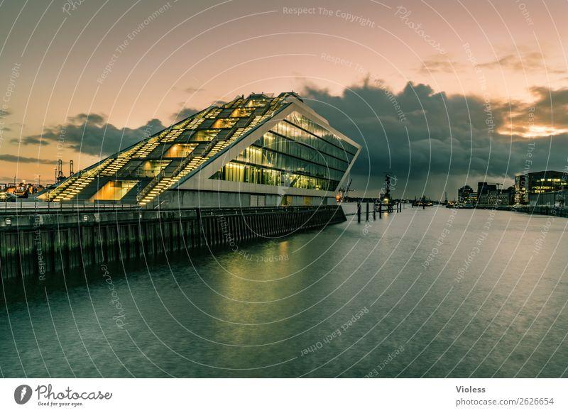 Dockland Hafenstadt Bauwerk Gebäude Architektur Treppe Terrasse Sehenswürdigkeit Wahrzeichen ästhetisch außergewöhnlich dunkel skurril Nacht Langzeitbelichtung