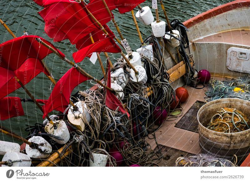 Fischerboot mit Fähnchen Fischereiwirtschaft Netz Fischernetzt Fischerfähnchen Wasser Hafen anstrengen Identität Kontrolle nachhaltig Natur Netzwerk Perspektive
