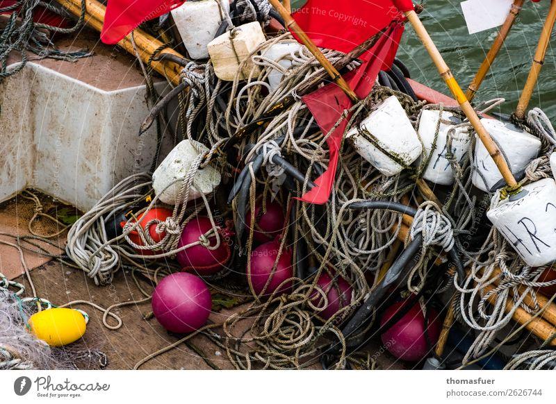 Fischernetz, Kugeln Farbfoto Schatten Kontrast Meer Ausflug Ferien & Urlaub & Reisen Bucht Ostsee Natur Himmel schlechtes Wetter Küste Umwelt Herbst Fischerdorf