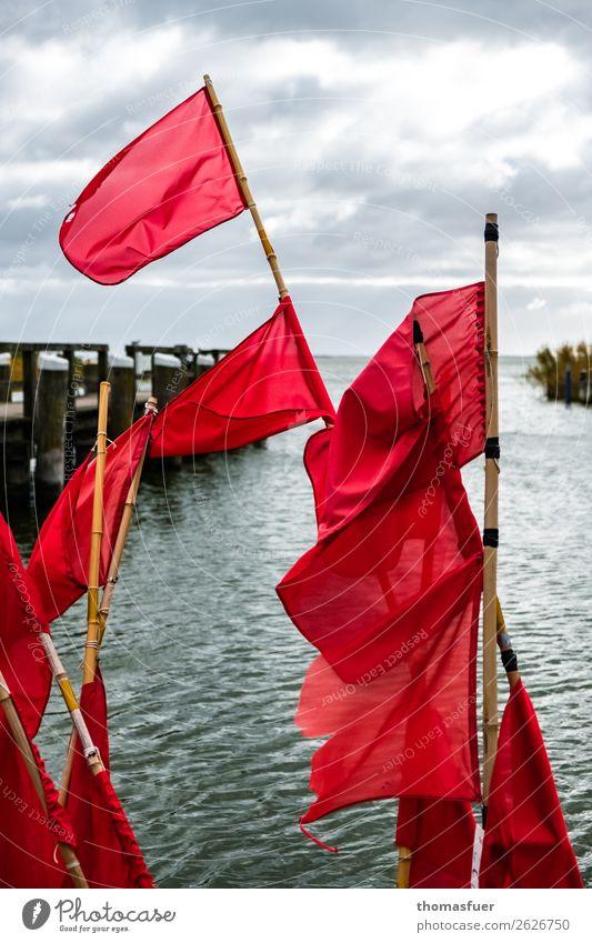 Fahnen im Wind Himmel Natur Ferien & Urlaub & Reisen Farbe rot Meer Wolken Herbst Umwelt Küste Ausflug Horizont Idylle Hafen Ostsee Bucht
