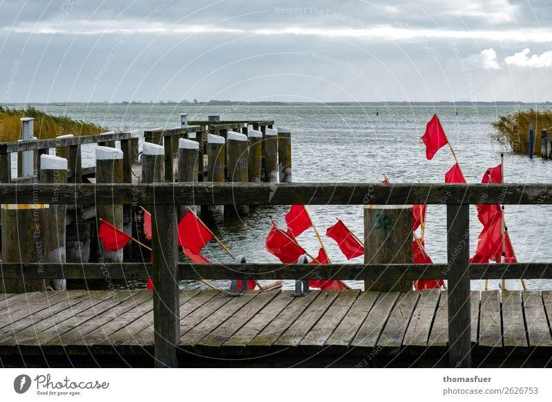 Bootsanleger, Hafen, grauer Himmel, Meer, rote Fischerfahnen Angeln Ausflug Ferne Strand Insel Wellen Fischereiwirtschaft Landschaft Wolken Horizont
