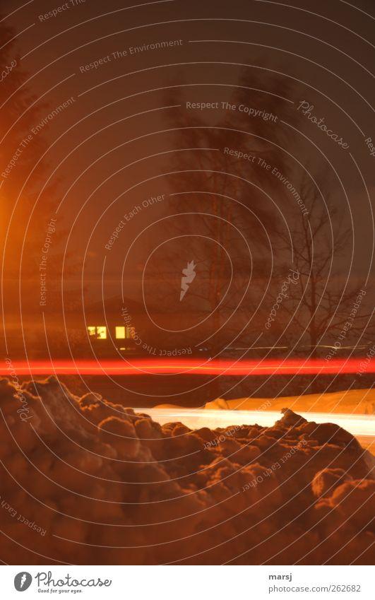 Es war in einer sehr stürmischen Nacht.... Winter Haus Umwelt Landschaft Urelemente Nachthimmel Wetter Unwetter Wind Sturm Schnee Baum Einfamilienhaus Fenster