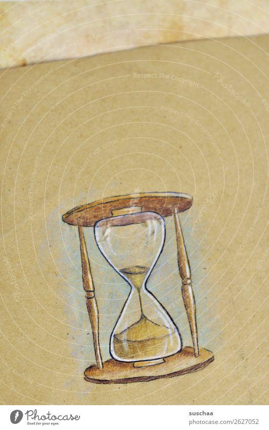 der countdown läuft ... Sanduhr gemalt Zeichnung Papier Zeit Uhr Zeitmessgerät Symbole & Metaphern Kunst Künstler Idee Glas verrinnen Delikt Eile Stress
