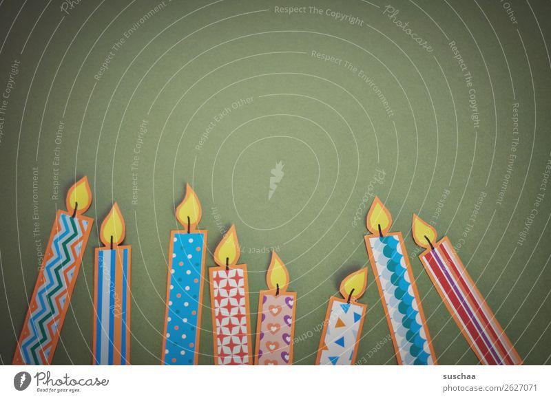 nicht entflammbar Kerze Feuer Basteln Feste & Feiern Muster Papier Hintergrund neutral Textfreiraum Geburtstag Glückwünsche Gruß Postkarte Happy Birthday