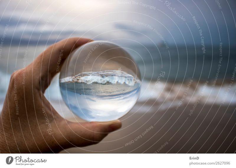 Surfbreaking am Sandstrand in Glaskugel eingefangen Design schön Ferien & Urlaub & Reisen Strand Meer Umwelt Natur Landschaft Himmel Wolken Wetter Unwetter