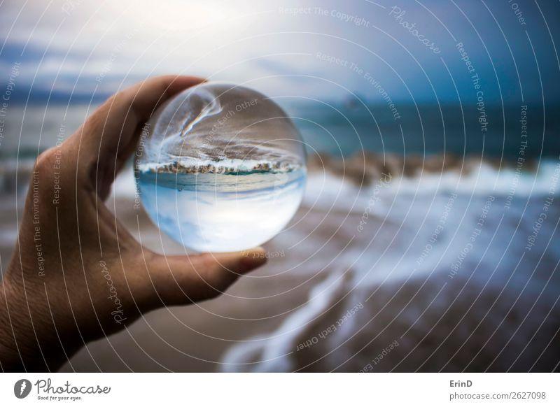 Sturmflut in Glaskugelreflexion eingefangen Design schön Ferien & Urlaub & Reisen Strand Meer Umwelt Natur Landschaft Himmel Wolken Wetter Unwetter Küste Kugel