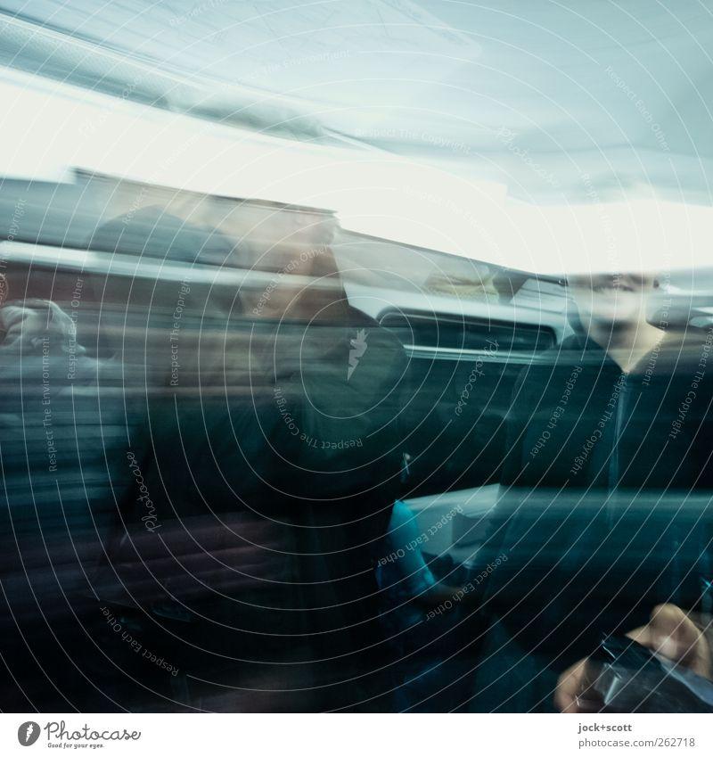 schneller ans Ziel (HH) Freude Öffentlicher Personennahverkehr Bahnfahren U-Bahn Zugabteil Zusammensein Gefühle Sympathie Bewegung Fotografieren Lächeln