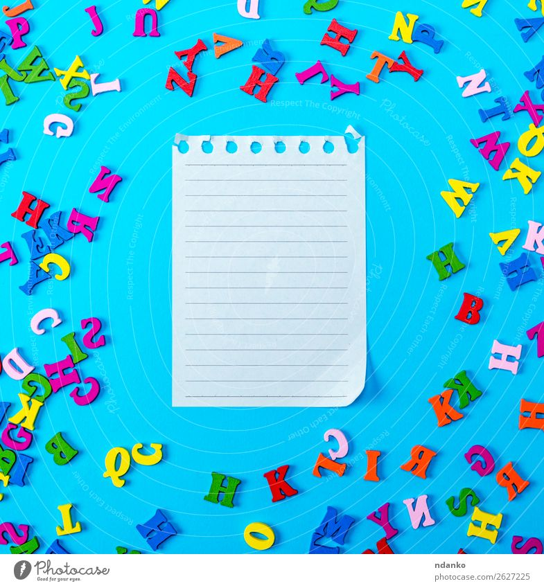 leeres Papierblatt Freude Dekoration & Verzierung Bildung Kind Schule Büro Buch Spielzeug Holz natürlich blau gelb grün rosa rot weiß Farbe Idee abc Alphabet