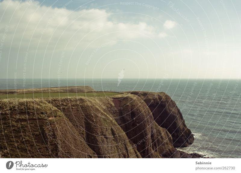 Schottische Küste Himmel Natur blau grün Pflanze Meer Wolken Umwelt Gras braun Erde Wellen Wind wild Klima