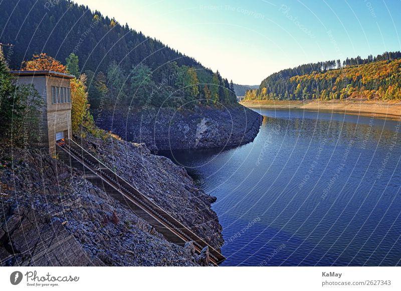 Okerstausee im Herbst Natur blau Wasser Landschaft Wald Berge u. Gebirge Umwelt Deutschland Stein See Europa Energiewirtschaft Schönes Wetter Beton