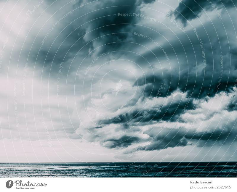 Sturmwolken versammeln sich über dem Ozean Sommer Strand Meer Wellen Umwelt Natur Landschaft Wasser Himmel Wolken Wetter schlechtes Wetter Unwetter Wind Regen