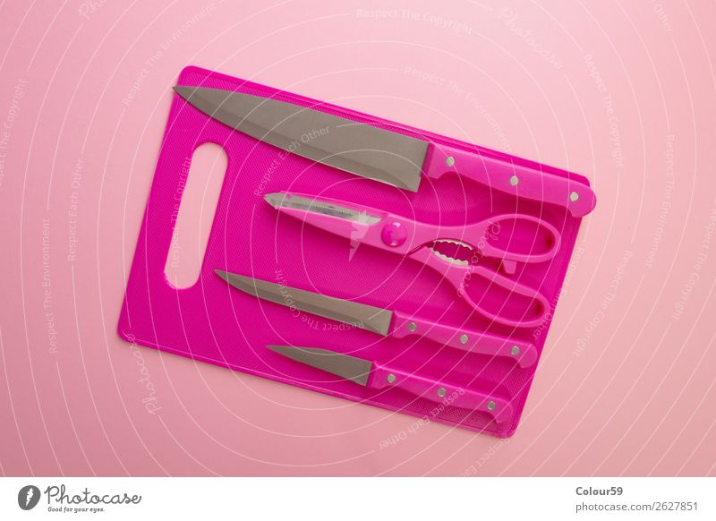 Küchenutensilien Snowboard rosa Hintergrundbild steel set Gerät Schlag Dinge Haushalt Messer Schere Küchenmesser scharf Küchenwerkezug Küchenbrett pink konzept