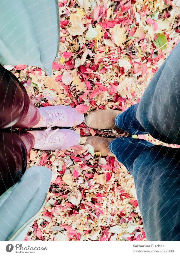 Stand by me Blatt Hose Stoff Leder Schuhe Turnschuh stehen blau braun mehrfarbig gelb grün orange rosa rot Beine Jeanshose Mantel Bekleidung Herbst Zusammensein
