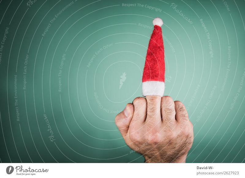 Anti Weihnachten Lifestyle elegant Stil Design Freude Geld sparen Feste & Feiern Weihnachten & Advent Mensch maskulin Mann Erwachsene Leben Hand Finger 1 Kunst