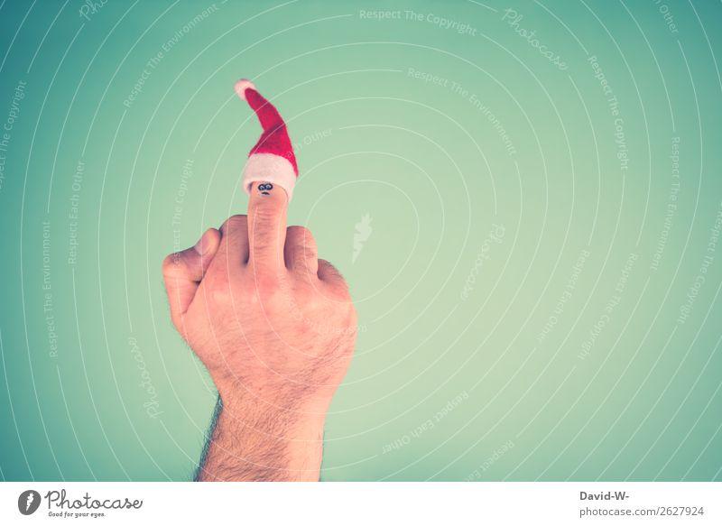 Weihnachtsmuffel elegant Stil Feste & Feiern Weihnachten & Advent Mensch maskulin Mann Erwachsene Jugendliche Gesicht Hand Finger 1 Kunst Traurigkeit Verachtung