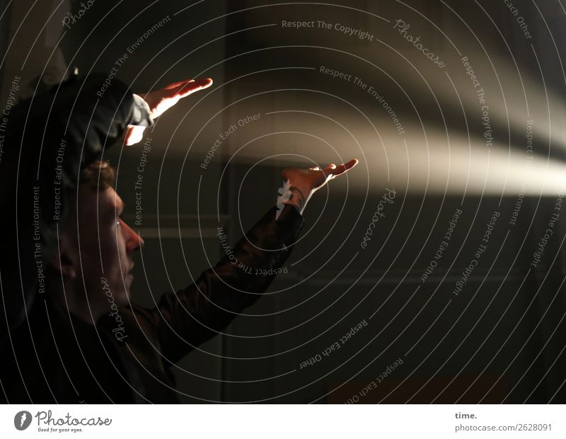 Lichtspieler Mensch Mann Hand Erwachsene Leben Bewegung Spielen maskulin leuchten Kommunizieren Kreativität lernen Finger Vergänglichkeit Idee beobachten