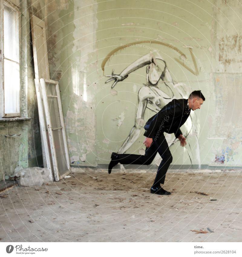kind of magic Raum maskulin Mann Erwachsene 1 Mensch Ruine Mauer Wand Fenster lost places Anzug brünett kurzhaarig Graffiti laufen rennen historisch kaputt