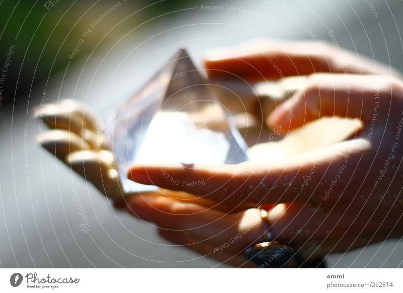 Die Zukunft in Händen II Jugendliche Hand feminin Holz hell Glas glänzend Finger ästhetisch leuchten Junge Frau berühren nah Ring Prisma Esoterik