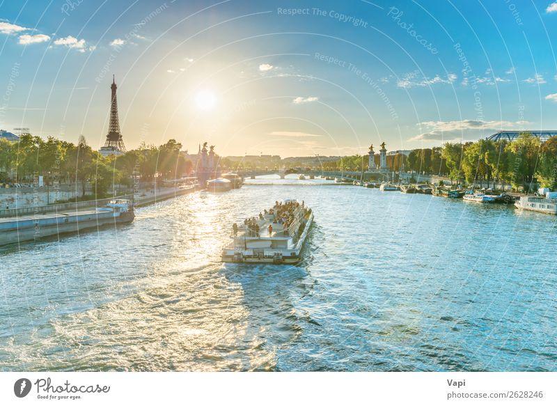 Schöner Sonnenuntergang mit Eiffelturm schön Ferien & Urlaub & Reisen Tourismus Ausflug Abenteuer Ferne Sightseeing Städtereise Kreuzfahrt Sommer Sommerurlaub