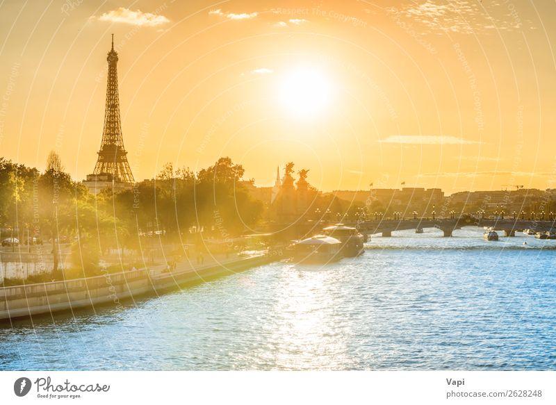Schöner Sonnenuntergang mit Eiffelturm schön Ferien & Urlaub & Reisen Tourismus Abenteuer Ferne Freiheit Sightseeing Städtereise Sommer Sommerurlaub Architektur