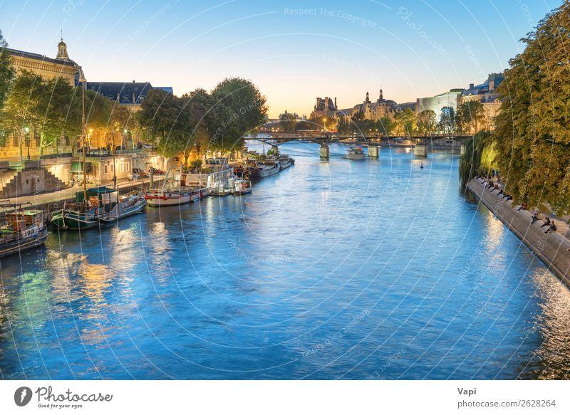 Paris bei Nacht - Sonnenuntergang über der Seine Lifestyle Leben Ferien & Urlaub & Reisen Tourismus Ausflug Sightseeing Städtereise Kreuzfahrt Sommer