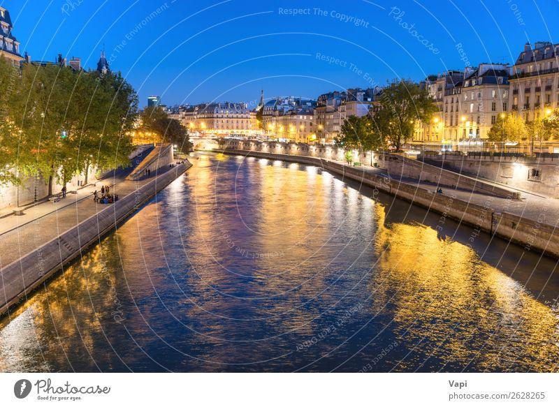 Paris bei Nacht - Sonnenuntergang über der Seine Leben Ferien & Urlaub & Reisen Tourismus Ausflug Abenteuer Sightseeing Städtereise Architektur Landschaft