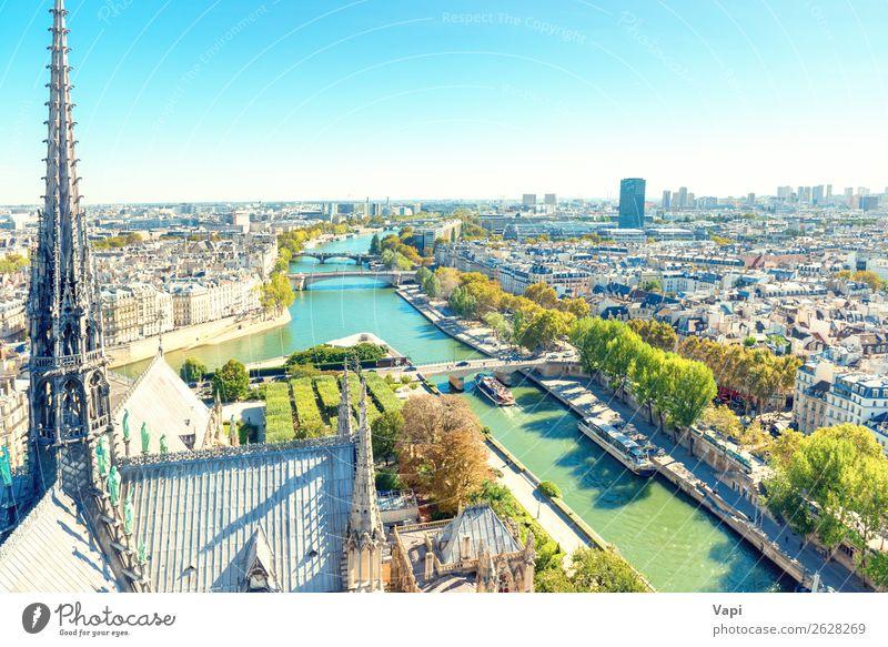 Pariser Stadtlandschaft mit Seine Fluss schön Ferien & Urlaub & Reisen Tourismus Ausflug Ferne Sightseeing Städtereise Sommerurlaub Architektur Landschaft