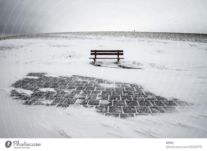 Winterbank Ferien & Urlaub & Reisen Tourismus Schnee Winterurlaub wandern Umwelt Natur Landschaft Urelemente Himmel Klima Klimawandel Wetter schlechtes Wetter