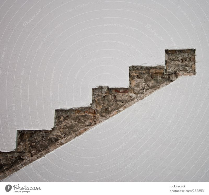 Treppe in die Vergangenheit alt weiß Wand Wege & Pfade Stil Mauer außergewöhnlich Linie authentisch frei ästhetisch Kreativität einfach Baustelle historisch