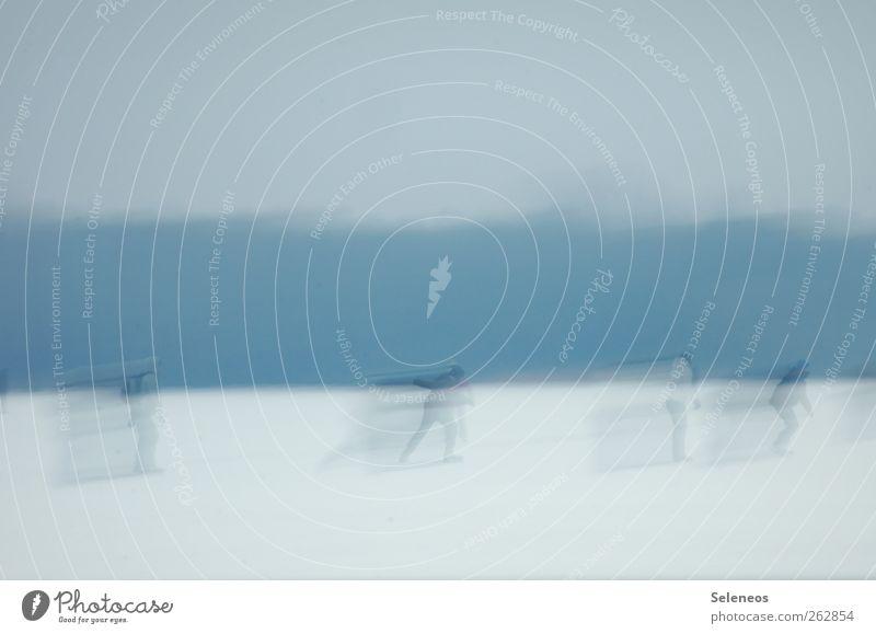 bye bye Winterwonderland Mensch Himmel Natur Umwelt Landschaft Schnee Spielen Bewegung See Eis Freizeit & Hobby laufen Geschwindigkeit Frost Wintersport